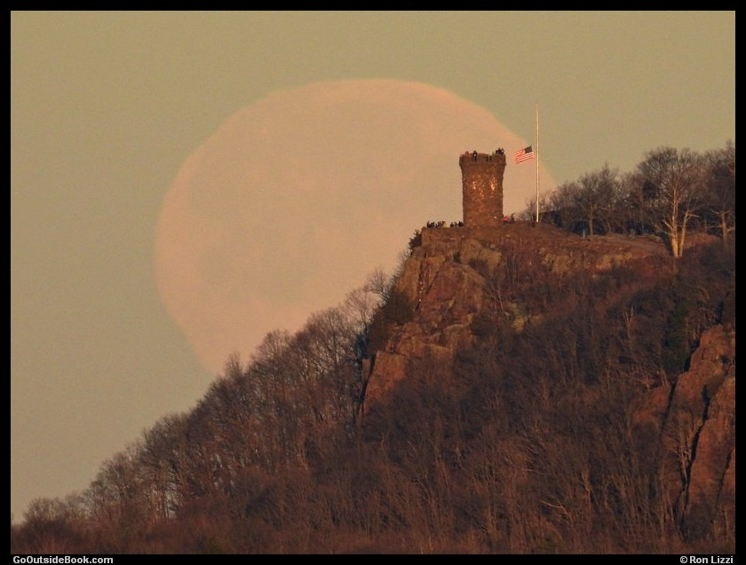 Castle Craig with a full moon in Meriden, Connecticut