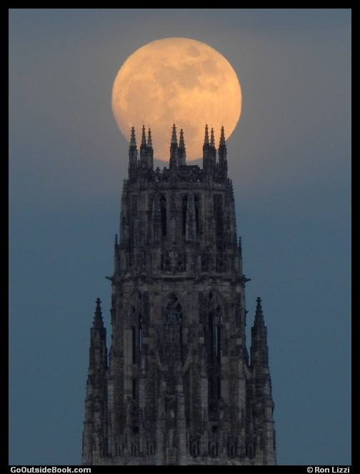 Full Moon over Harkness Tower at Yale University, New Haven, Connecticut