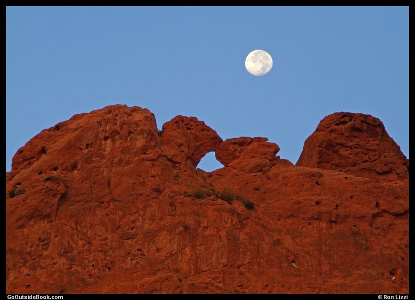 Kissing Camels under full moon, Garden of the Gods Park, Colorado