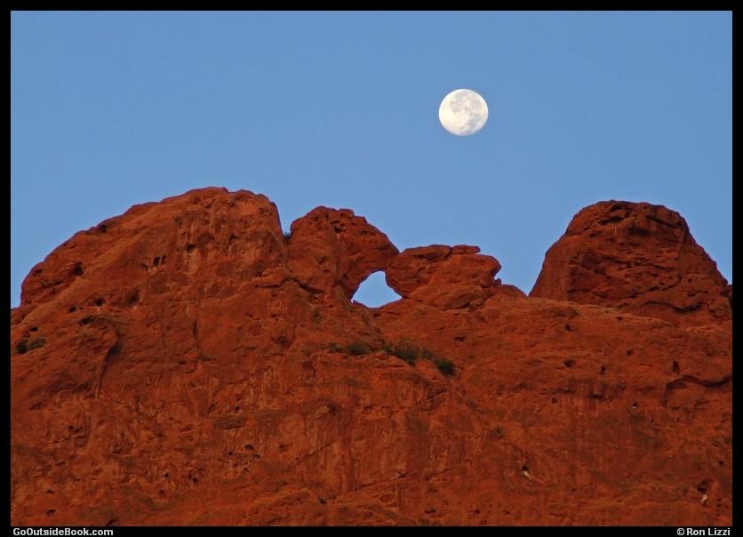 Kissing Camels Under Full Moon, Garden Of The Gods Park, Colorado
