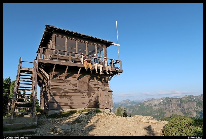 Hikers on the Tolmie Peak fire tower - Mount Rainier National Park, Washington