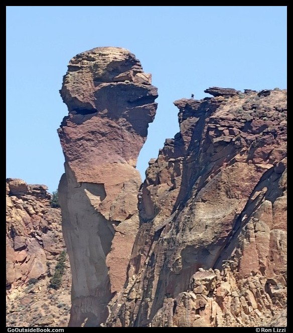 Monkey Face and Hiker - Smith Rock State Park, Oregon