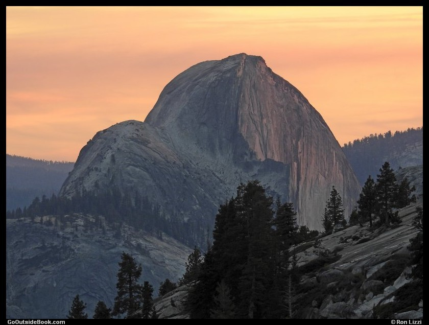 Half Dome viewed from Olmsted Point at sunset, Yosemite National Park, California