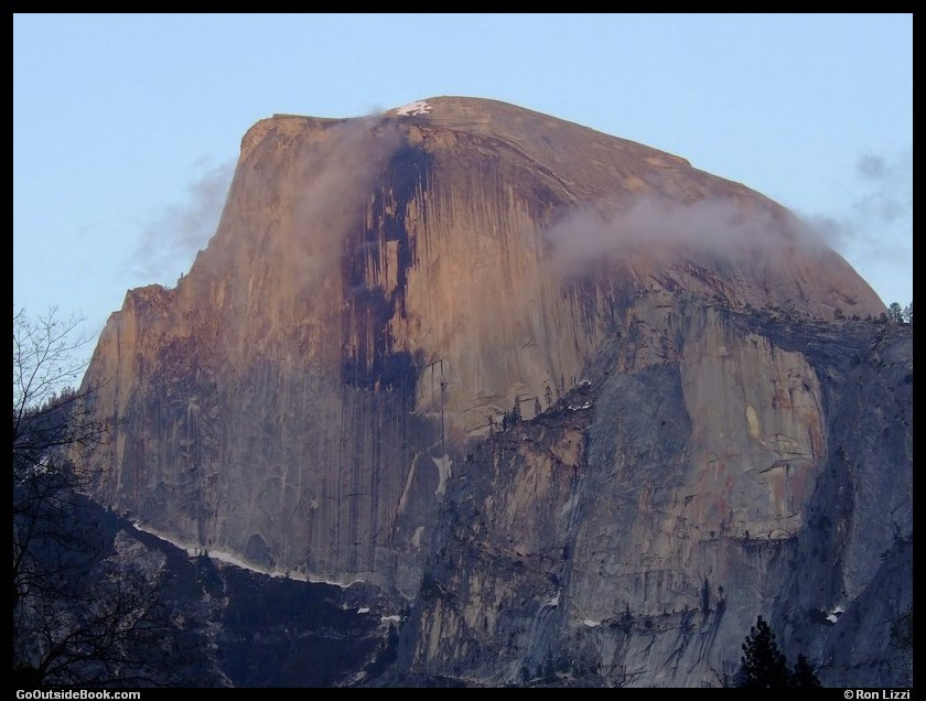 Half Dome viewed from Yosemite Falls parking area at sunset, Yosemite National Park, California
